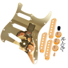 Guitar Pickguard Gold Mirror 3 Single Coil Pickup Covers Knobs Screws for Strat
