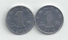 2 - 1 JIAO COINS from the PEOPLE'S REPUBLIC of CHINA (2009 & 2010)