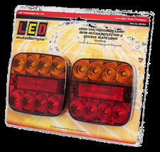 PAIR OF REAR COMBINATION SQUARE TRAILER LAMP 8 LED STOP TAIL INDICATOR REFLECTOR