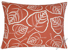 Orange/Cream Leaf indoor/outdoor throw pillow cover / cushion cover 12x16""