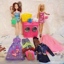 Konvolut Barbie Möbel +Bekleidung Zubehör + 2 Puppen  Waschmaschine + Kleinteile