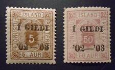 pair Iceland Official stamp #s 026 & 030 mint OG NH VF