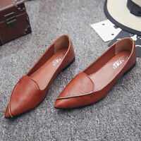 WOMEN'S Flat Ballet Loafer Work Comfy Slip Pointed Toe ON Drive PU Leather Shoes