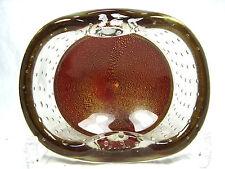 Beautiful / schöne Murano glass bowl / Glas Schale goldfoil & airbubbles 1085 Gr