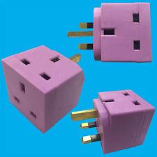 Violeta 2 vías 13amp enchufe GB 3 Pin Enchufe Adaptador Divisor, TV, portátil