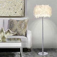 E27 Bulb Modern LED Floor Lamp Sheer Shade Feather Lamp Stand Light for Bedroom