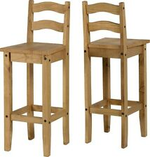 Corona Bar Stools High Chair Distressed Light Waxed Solid Pine - Pack of Two
