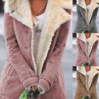 Womens Casual Long Coats Parka Ladies Winter Warm Faux Fur Fleece Jacket Outwear