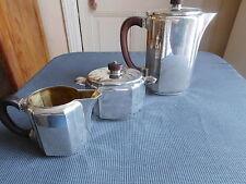 CHRISTOFLE SERVICE A CAFE GALLIA MANCHES EN MACASSAR TROIS PIECES ARGENT PLAQUE