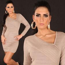 Womens Sexy Fine Knit Mini Dress Deep Beige asymmetric neckline Fits 8 / 10