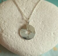Sterling Silver Compass Pendant Necklace - UK Seller