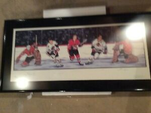 Chicago Blackhawks lithograph autographed by Hull, Mikita, Pilote, Esposito, Hal