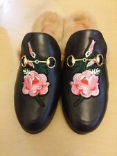 Leather Floral Slippers for Women