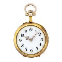 Antique 14k Gold Swiss Pocket Pendant Watch w/ .50ctw Burnish Set Diamond & Ruby