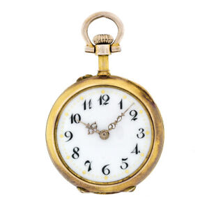 Antique 14k Gold Swiss Pocket Pendant Watch w 50ctw Burnish Set Diamond & Ruby