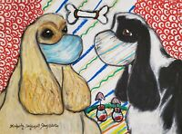 Cocker Spaniel Collectible Quarantine Dog Art Print 11 x 14 Artist Signed KSams