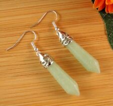 Green Aventurine Natural Gemstone Hexagonal Point Dangle Fashion Earrings #B133