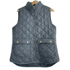 Artisan NY Quilted Vest Gray Blue Equestrian Style Women's Size L Zip Up
