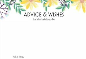 10 Advice & Wishes Bride To Be Cards Bridal Hens Games 14.8cm x 10.5cm 280gsm