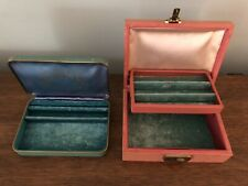2 Vintage Antique Jewelry Boxes, Farrington Genuine Texol -Could Sell Separately