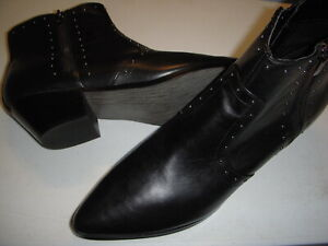 Marc Fisher Wanida Leather Western Detailed Ankle Boots Women's 9 M Black 9M ~