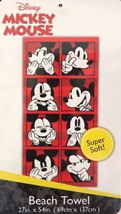 """MICKEY MOUSE FACES DISNEY ORIGINAL LICENSED BEACH TOWEL POOL SUPER SOFT (27""""x54"""""""