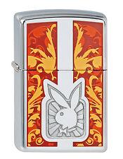 Zippo PLAYBOY Orange tolles Motiv Bunny Chrom poliert 2000739  NEU Feuerzeug