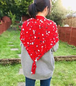 Alize red bulky yarn boho style flowered shawl wrap-1QTY