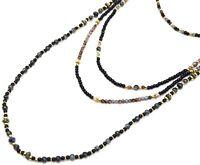 CL2243F - Sautoir Collier Multi-Rangs Perles Verre Effet Marbre et Opaque Noir