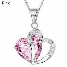 Plata y Cristal Gruesa Collar De Corazón En Rosa ** ** regalo de boda de vendedor de Reino Unido