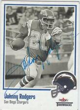 JOHNNY RODGERS Autographed Signed 2002 Fleer card San Diego Chargers  COA
