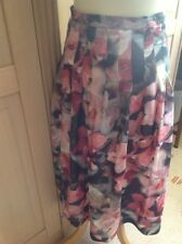 LOVELY COTSWOLD COLLECTION PINK & GREEN FLORAL CALF LENGTH SKIRT UK SIZE 10 WORN