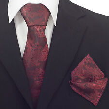 Mens Burgundy Red  Paisley Silk Woven Tie For Party Wedding Work CR004
