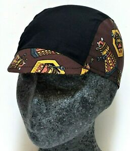 NEW CYCLE CYCLING BLACK DALEKS DR WHO COTTON BICYCLE SPORTS CAP UK HANDMADE e618