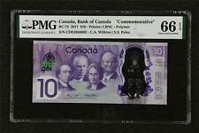 "2017 Canada Bank of Canada ""Commemorative"" BC-75 10 Dollars PMG 66 EPQ Gem UNC"