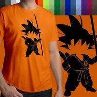 Anime Young Son Goku Silhouette Unisex Mens Crew Neck 100% Cotton T-Shirt