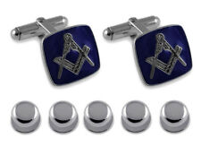 Sterling Silver Masonic Blue Enamel Cufflinks Shirt Dress Studs Gift Set