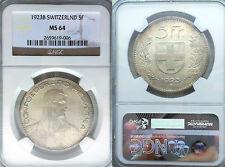 Switzerland 1923 5 Fr. Superb  NGC 64, Rare High Grade, Beauty.