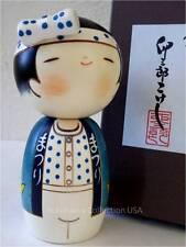 """Japanese Wooden Doll Kokeshi Sushi Boy w/ Hachimaki Headband 5.75""""H/Made Japan"""