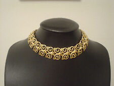 "goldtone choker necklace 13""-15"" Monet double scroll design"