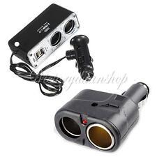 2Way USB Port Car Cigarette Lighter Dual Socket Splitter Charger Adapter 12V/24V