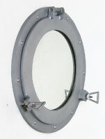 "Ship's Cabin Porthole Mirror Aluminum Finish 15"" Round Nautical Maritime Decor"