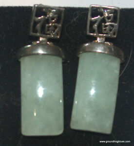 Beautiful Sterling Silver Jade Earrings with Calligraphy