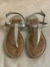 Sam & Libby Women's T- Strap Sandals Size 8 Tan and Silver Cushion Insole