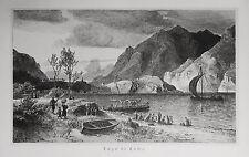 1890 ITALIEN VON WOLDEMAR KADEN=Veduta.Xilogr.Paesaggio del LAGO DI COMO o LARIO