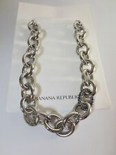 Banana Republic GLAMOUR Silver Gunmetal Crystal Pave Toggle Necklace NWT $125