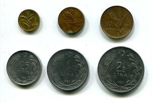 Turkey 1, 5, 10 & 25 Kurus & 1, 2½ Lira 1962 KM-889 890 891 892 893 895 (6 pcs)