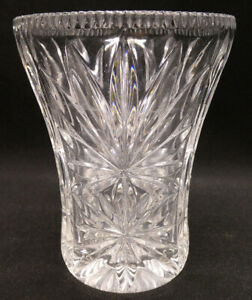 Vintage Cut  Glass Vase with Flower Design