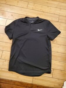 Nike Slim Fit Court Dry Blade Polo Tennis Shirt Top Size Medium AQ7732-010 Black