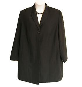 LONG Black Blazer Jacket Plus Size 22 22W Lined Career Working Classics Business